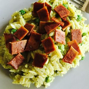 Vegan broccoli pesto and Sgaia bacon meal