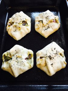 Tofu pastry parcels ready for the oven